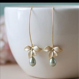 Orchid flower sage green pearl earring